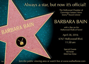 Barbara Bain will receive the 2,579th star on the Hollywood Walk of Fame on April 28, 2016.